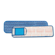 "Rubbermaid Commercial HYGEN HYGEN Wet Pad w/Scrubber, Nylon/Polyester Microfiber, 18"" Long, Blue (RCP Q415)"