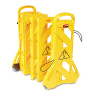 """Rubbermaid Commercial Portable Mobile Safety Barrier, Plastic, 13ft x 40"""", Yellow (RCP 9S11 YEL)"""