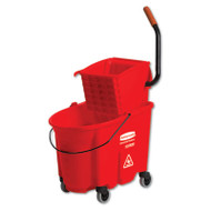 Rubbermaid Commercial WaveBrake Side-Press Wringer/Bucket Combo, 8.75 gal, Red (RCP 7588-88 RED)