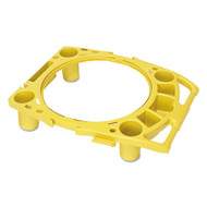 "Rubbermaid Commercial Standard Rim Caddy, 4-Comp, Fits 32 1/2"" dia Cans, 26 1/2w x 6 3/4h, Yellow (RCP 9W87 YEL)"