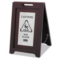Rubbermaid Commercial Executive 2-Sided Multi-Lingual Caution Sign, Brown/Stainless Steel,15 x 23 1/2 (RCP 1867508)