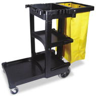 Rubbermaid Commercial Multi-Shelf Cleaning Cart, Three-Shelf, 20w x 45d x 38-1/4h, Black (RCP 6173-88 BLA)