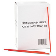 "GEN Coffee Stirrers, Red/White, Plastic, 5 1/4"", 1000/Box, 10 Boxes/Carton (GEN SIPSTIRST)"