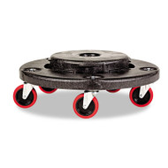 Rubbermaid Commercial Brute Quiet Dolly, 250lb Capacity, 18 1/4 dia. x 6 5/8h, Black (RCP 2640-43 BLA)
