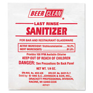 Diversey Beer Clean Last Rinse Glass Sanitizer, Powder, .25oz Packet, 100/Carton (DVO 90223)