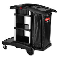 Rubbermaid Commercial Executive High Capacity Janitorial Cleaning Cart, 22.5w x 38.5d x 20.5h, Black (RCP 1861429)