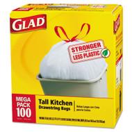 Glad Tall Kitchen Drawstring Bags, 24 x 27 3/8, 13gal, .95mil, White, 100/Box (CLO 78526)
