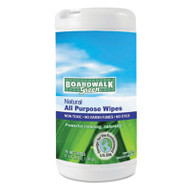 Boardwalk Natural All Purpose Wipes, 7 x 8, Unscented, 75 Wipes/Canister, 6/Carton (BWK 373-6)