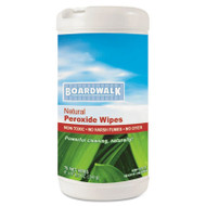 Boardwalk Natural Multi-Purpose Hydrogen Peroxide Wipes, 7x8, Unscented, 75/Canister, 6/CT (BWK 375-6)
