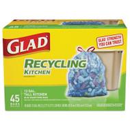 Glad Tall Kitchen Blue Recycling Bags, Drawstring, 13 gal, 0.9 mil,45/Box (CLO78542BX)