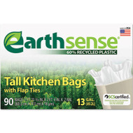 Earthsense Recycled Can Liners, 13gal, .7 Mil, 23 3/4 x 28, White, 90 Bags/Box (WBIGES6FK90)