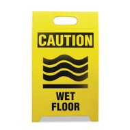 See All Economy Floor Sign, 12 x 14 x 20, Yellow/Black, 2/Pack (SEETPCWET)