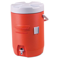 "Rubbermaid Commercial Insulated Beverage Container, 3gal, 11"" dia x 16 7/10h, Orange/White (RUB16830111)"