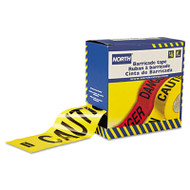 """North Safety Barricade Tape, 3"""" x 1000 ft, """"Caution"""" Text, Yellow/Black (NSPCT3YE1)"""