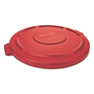 "Rubbermaid Commercial Flat Top Lid for 20-Gallon Round Brute Containers, 19 7/8"" dia., Red, 6/Carton (RCP261960RED)"