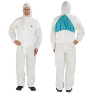 3M Disposable Protective Coveralls, White, Large, 25/Carton (MMM4520BLKL)