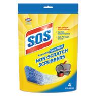 S.O.S. Non-Scratch Soap Scrubbers, Blue, 4/Pack, 6 Packs/Carton (CLO10004)