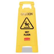 "Rubbermaid Commercial ""Caution Wet Floor"" Floor Sign, Plastic, 11 x 1 1/2 x 26, Bright Yellow, 6/Ctn (RCP611277YWCT)"