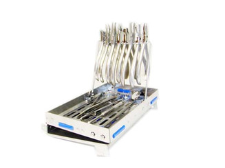 Double Hinge Orthodontic Sterilization Cassette with Plier Rack one inch deep