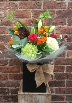 A handtied aquapac bouquet with a combination of Autumn shades. Reds, deep purples, oranges with a hint of lime green.