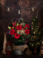 'Festive Spice' is our warm, traditional bouquet, including beautiful Red Roses, Red Lily and Red Gerbera. The accent flowers are Blue Eryngium Thistle and berried Ilex, with the spice element coming from the decorative cinnamon sticks included in the bouquet. Festively finished with preserved oranges and a single golden star.