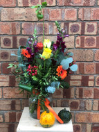 Our Bright Autumn Vase is filled with all the colours we associate with Autumn - Reds, Oranges, Purples, Vivid Greens, and natural seasonal golds ... gorgeous and wonderful to receive! The flowers arrive in their own vase which means - no packaging to dispose of, and they are already arranged and ready to display on delivery!  Please note you will need to supply your own cute pumpkins, these are not included ;0)  Flower content may vary due to availability but the theme, style and tones will remain!