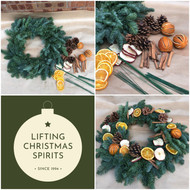 The next best thing to attending one of our Chelsea Flowers Wreath Workshops (thwarted due to Covid), is to purchase one of our DIY Wreath Kits and decorate your own wreath for your front door  Within our kit, we supply a pre-prepared bare wreath, and traditional decorations such as dried pine cones, whole dried oranges and dried cinnamon sticks, slices of dried apples and the necessary wires to allow you to apply them to the wreath base.  You can either copy the example we show here, or be creative and possibly add your own additional, personal decorations, and ribbons!  A fabulous way to wile away an hour or so and to have something beautiful at the end of it!  Enjoy!