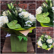 Our 'Luxury Green and White' Bouquet packs a zingy, clean and contemporary punch. Including Green 'Midori' Anthuriums, clean white h Hydrangeas and other flowers in the corresponding pallet of vibrant green and white, this is a modern bouquet that we know will be very popular.  To ensure longest life for hydrangeas - they enjoy regular changes of water, and re-trim the stems on a diagonal angle so that they can take a nice long drink!