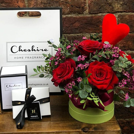 Our Cheshire Lockdown gift set is a one click option that includes a Romantic Hatbox prepared on site at Chelsea Flowers Wilmslow, one of our beautiful Cheshire Home Fragrance Candles, and a 6 pack of our luxury artisan chocolates prepared locally by Henshaw's House of Cocoa. A really special, local treat, delivered!
