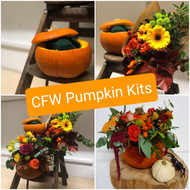 Our pumpkin decorating kits are a lovely way to spend an hour or so letting your creative juices flow to prepare a wonderfully seasonal home decoration.  We provide a pumpkin, floral foam, cello for lining your pumpkin and a selection of seasonal flowers and foliage from which you can create your design.  This is a lovely project to work on with friends over a catch up coffee, or with the kids, or even if you want an hour of 'just me' time.  (Please do recycle your pumpkin after use by popping it into the garden for birds and other wildlife to nibble on!)