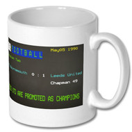 Bournemouth 0 Leeds United 1 Ceefax Mug - Chris Kamara's Choice