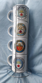 Manchester City Retro Badge Stacker Mugs - Free UK Delivery