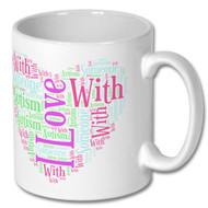 I love someone with autism heart mug - Free UK Delivery