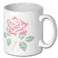 Lancashire Red Rose Word Cloud Mug