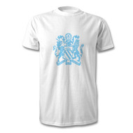 Manchester Coat of Arms - Sky Blue on White T-shirt - Free UK Delivery