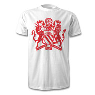 Manchester Coat of Arms - Red on White T-shirt - Free UK Delivery