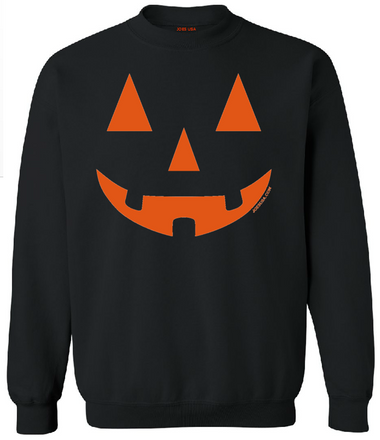 Joe's USA - JACK O' LANTERN PUMPKIN Halloween Costume Black Crewneck Sweatshirt