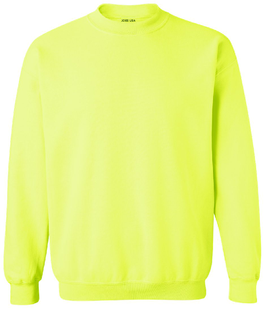 Joes Usa Safety Green And Orange Crewneck Sweatshirts