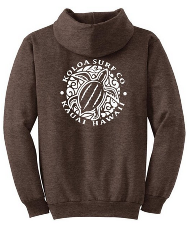 4847f10863c30 Heather Dark Chocolate Brown back / white logo · Koloa Surf Co. Hawaiian  Turtle Logo Hoodies. Hooded Sweatshirts $18.95