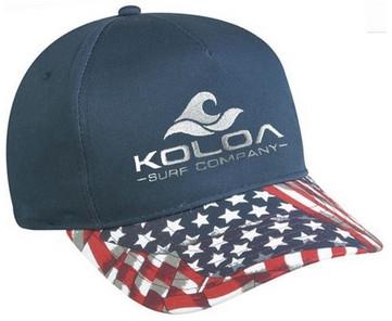 baf2d2a5d6d Koloa Surf Co. American Flag Visor Embroidered Wave Logo Hats ...