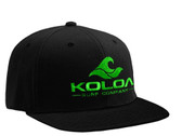 Koloa Surf Black Snapback Hat with Green Embroidered Classic Wave Logo