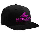 Koloa Surf Black Snapback Hat with Pink Embroidered Classic Wave Logo