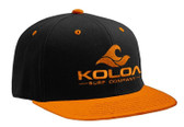 Koloa Surf Black/Orange Snapback Hat with Orange Embroidered Classic Wave Logo