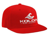 Koloa Surf Red Snapback Hat with White Embroidered Classic Wave Logo