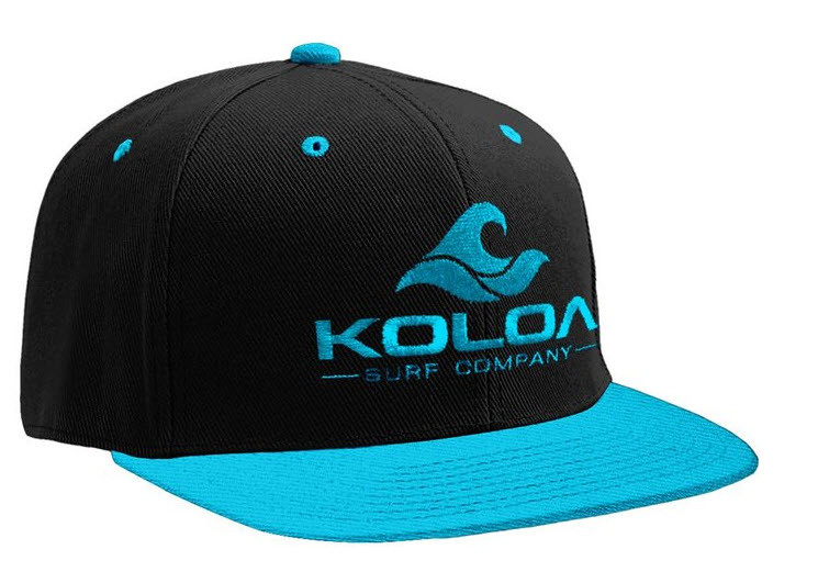 finest selection 07a8b 84d20 Koloa Surf Black Teal Snapback Hat with Teal Embroidered Classic ...