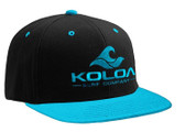 Koloa Surf Black/Teal Snapback Hat with Teal Embroidered Classic Wave Logo