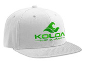 Koloa Surf White Snapback Hat with Green Embroidered Classic Wave Logo