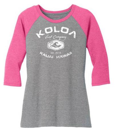 d0b90097678f3 Koloa Surf Co. Ladies Raglan Baseball T-Shirts-3 4 Sleeve Baseball ...