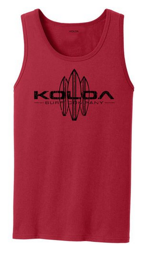 5151a7ffc61a9 Koloa Surf Co. Vintage Surfboard Logo Tank Tops. Adult Sizes  S-4XL. Red    Black logo