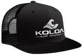 Koloa Surf Co. Mesh Back Trucker Hat in Black with White Embroidered Classic Wave Logo